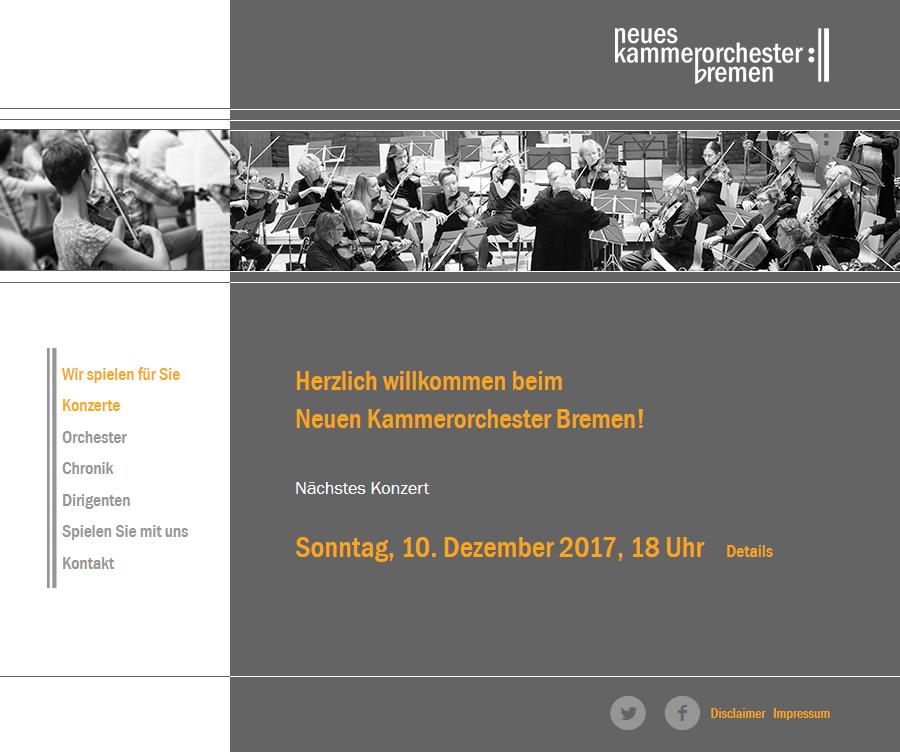 Webseite für das Neue Kammerorchester Bremen